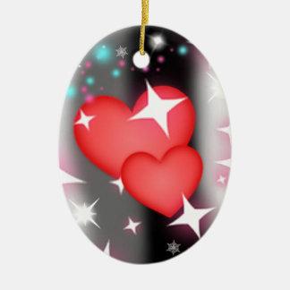 Amor en el cielo adorno navideño ovalado de cerámica