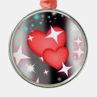 Amor en el cielo adorno navideño redondo de metal