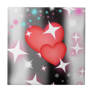 Amor en el cielo azulejo cuadrado pequeño