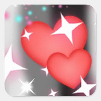 Amor en el cielo pegatina cuadrada