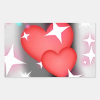 Amor en el cielo pegatina rectangular