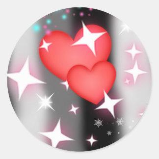 Amor en el cielo pegatina redonda