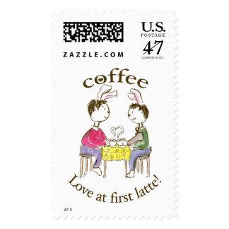 ¡Amor en el primer latte! Timbres Postales