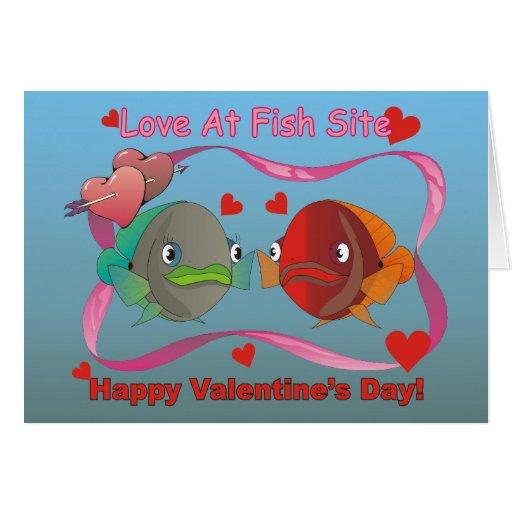 Amor en el sitio de los pescados tarjeta de felicitación