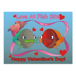 Amor en el sitio de los pescados tarjetas postales