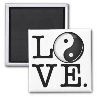 Amor en equilibrio el símbolo brillante de Yin Imán Cuadrado