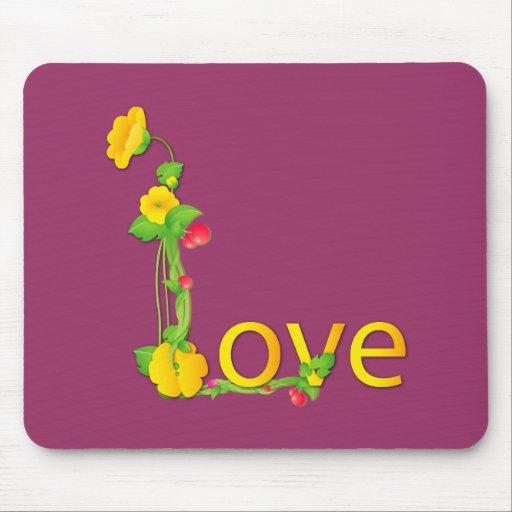 Amor en flores amarillas alfombrillas de ratones