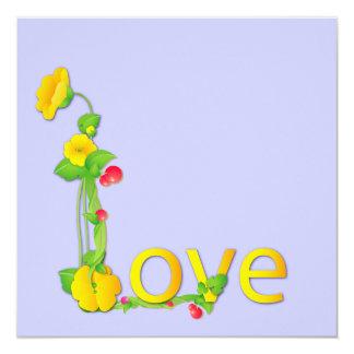 """Amor en flores amarillas invitación 5.25"""" x 5.25"""""""
