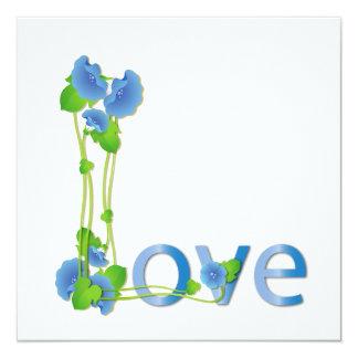 "Amor en flores azules invitación 5.25"" x 5.25"""