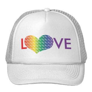AMOR en forma de corazón en colores del arco iris Gorros