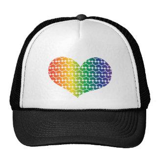 AMOR en forma de corazón en colores del arco iris Gorros Bordados