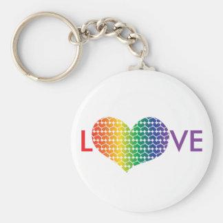 AMOR en forma de corazón en colores del arco iris Llavero Redondo Tipo Pin