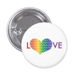 AMOR en forma de corazón en colores del arco iris Pin Redondo 2,5 Cm