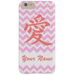 Amor en japonés con el modelo rosado de Chevron Funda De iPhone 6 Plus Barely There