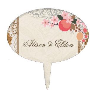 Amor en la floración - cordón y arpillera figura para tarta