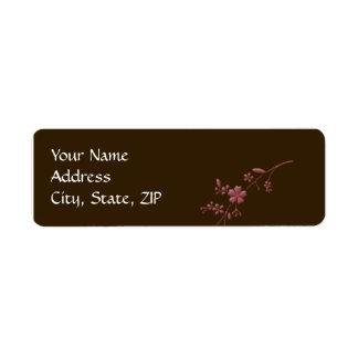 Amor en la floración: Marrón con la flor de cerezo Etiquetas De Remite