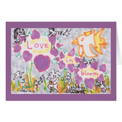 Amor en la floración - tarjeta de felicitación