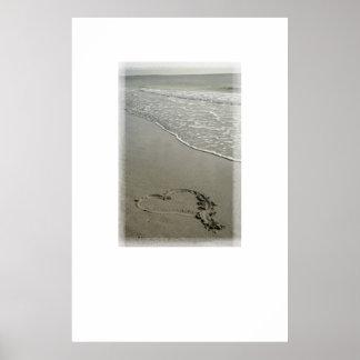 Amor en la impresión del poster de la playa [con e