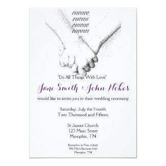 """""""Amor en"""" la invitación binaria del boda"""