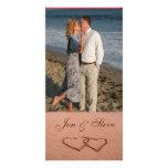 Amor en la plantilla de la foto de la playa tarjetas personales con fotos