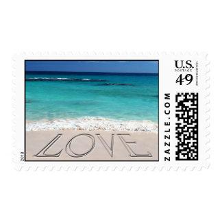 Amor en la playa estampillas
