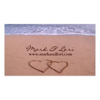 Amor en la playa tarjetas de visita
