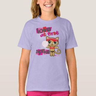 Amor en la primera camiseta del gato del voleibol playera