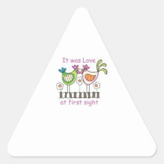 Amor en la primera vista pegatina trianguladas personalizadas