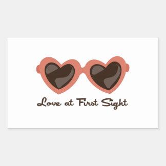 Amor en la primera vista rectangular pegatinas