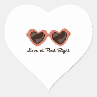 Amor en la primera vista pegatina de corazón personalizadas