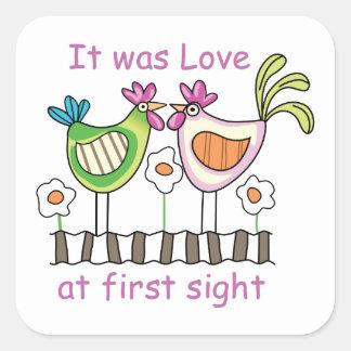 Amor en la primera vista pegatinas cuadradases personalizadas