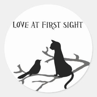 Amor en la primera vista etiquetas redondas