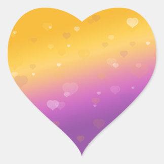 Amor en la puesta del sol pegatina en forma de corazón