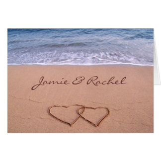 Amor en la tarjeta de la playa