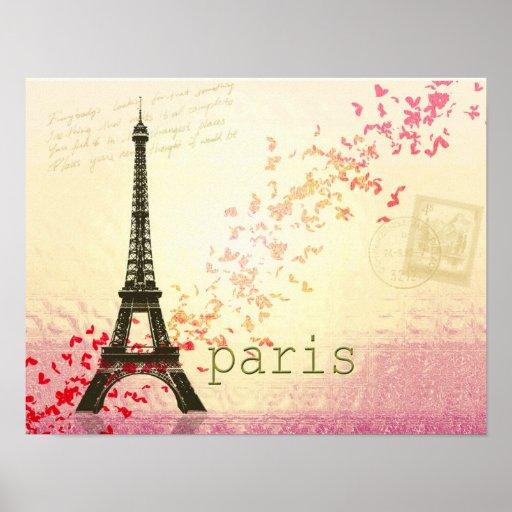 Amor en la torre Eiffel de París Póster