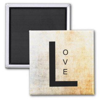 Amor en letras negras imán cuadrado