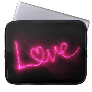 Amor en luces rosadas manga portátil