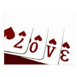 Amor en naipes del corazón postales