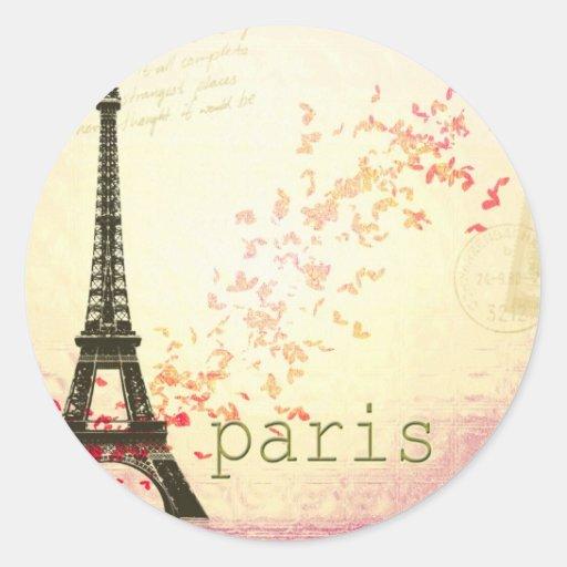 Amor en París Pegatinas Redondas