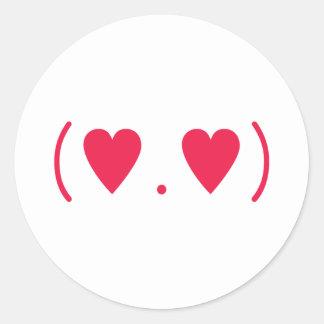 Amor en rojo pegatina redonda