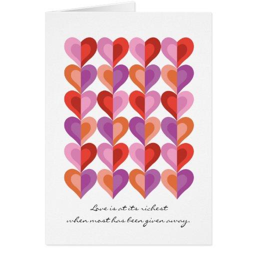 Amor en su tarjeta de nota más rica