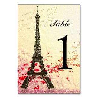 Amor en tarjetas del número de la tabla de París