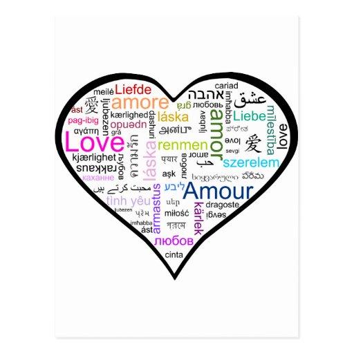 Amor en todo el corazón de las idiomas postal