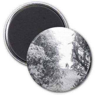 Amor en una foto imán redondo 5 cm
