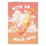Amor en una tarjeta de felicitación de la botella