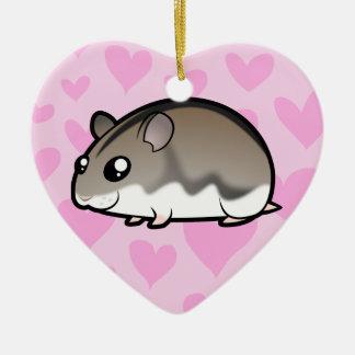 Amor enano del hámster adorno navideño de cerámica en forma de corazón
