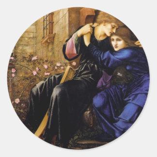 Amor entre el arte del Pre-Raphaelite de las Pegatina Redonda