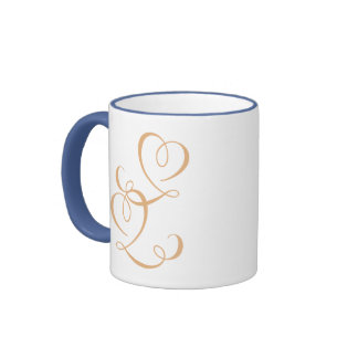 Amor escrito tazas de café