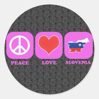 Amor Eslovenia de la paz Pegatina Redonda