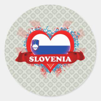 Amor Eslovenia del vintage I Pegatina Redonda
